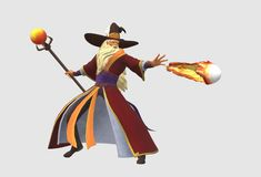 A wizard casting a spell of fireball stock image