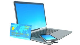 Computer generated image credit card and laptop Royalty Free Stock Photo
