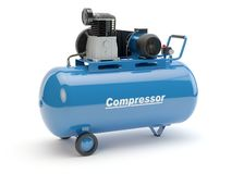 Blue Air Compressor, 3D illustration stock illustration