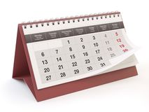 Calendar, white background, 3D illustration royalty free illustration