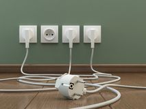 Power plugs, 3D illustration royalty free illustration