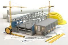 Warehouse construction, 3D illustration royalty free illustration