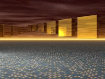 Computer Generated Image - Flying Cubes. Computer Generated Image - Hovering Cubes on an Abstract Background Stock Images