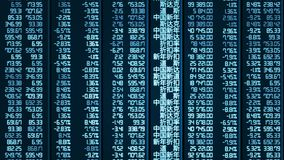 Computer-generated shot of trade results updating on Chinese stock market board