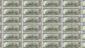 Computer generated video with transitions of American and North Korea Banknotes of 100 dollar and 1000 won stock video