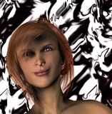 Computer generated woman. Computer-generated woman with short red hair. Abstract black and white background Stock Images