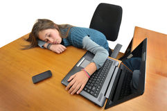Computer generation. Young girlsleeping in front of a laptop computer Royalty Free Stock Photos