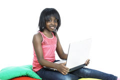 Computer generation. Child a cute girl with laptop Stock Image