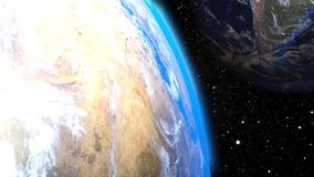 Computer generation futuristic composition planet Earth in outer space. Close-up celestial bodies against the backdrop