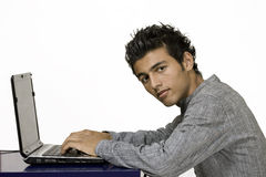 Computer generation guy on laptop. Horizontal image on white background with copy space Stock Photos
