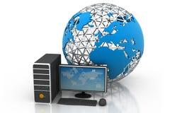 Computer-Geräte angeschlossen an digitale Welt Stockbild