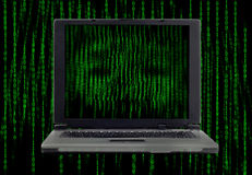 Computer ghosts with binary codes from monitor Royalty Free Stock Photo