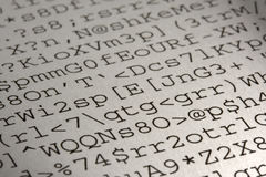 Computer gibberish printout. Text without sense produced by a faulty software or user mistake - selective focus Royalty Free Stock Image