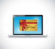Computer and gift card. illustration design Royalty Free Stock Photos