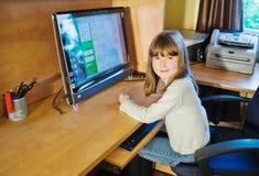 Computer girl Royalty Free Stock Photo
