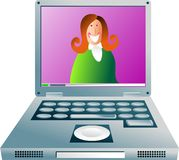 Computer girl. Happy business woman communicating via laptop computer - concept illustration Stock Photography