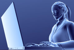 Computer Girl. 3D render of girl working at her computer, with mic/headphones on, in blue Stock Photography