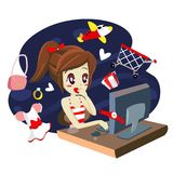 computer girl shopping - vector Royalty Free Stock Images