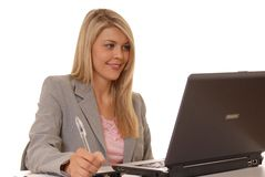 Computer Girl Three. Business lady at computer Royalty Free Stock Photo