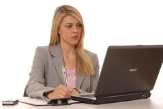 Computer Girl Two. Business lady at computer Stock Image
