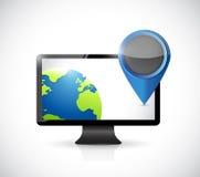 Computer globe and locator pointer illustration Stock Photo