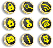 Computer golden web icon set. Golden computer web icon set Royalty Free Stock Photography