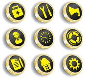 Computer golden web icon set Stock Photos