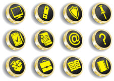 Computer golden web icon set Royalty Free Stock Photos
