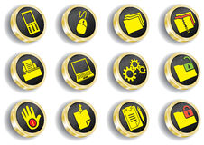 Computer golden web icon set Royalty Free Stock Image