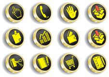 Computer golden web icon set Stock Image