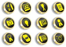 Computer golden web icon set Stock Photo