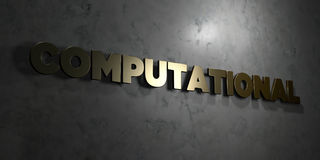 Computer - Gouden tekst op zwarte achtergrond - 3D teruggegeven royalty vrij voorraadbeeld Stock Afbeeldingen