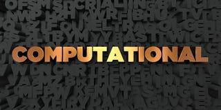 Computer - Gouden tekst op zwarte achtergrond - 3D teruggegeven royalty vrij voorraadbeeld Stock Afbeelding