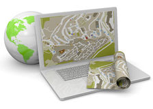 Computer And GPS Concept - 3D Stock Photo