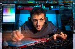 Computer Grafische Nerd Stock Foto's