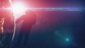 Computer graph spaceman silhouette in outer space lit by starlight