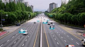 Computer graphic image of an electric vehicle or hydrogen-electric vehicle driving on the road