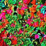 Computer graphics of abstract floral psychedelic background of colored blurry chaotic strokes and paint stains with brushes of dif. Ferent sizes in the form of royalty free illustration