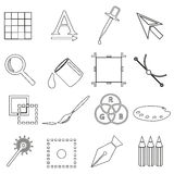 Computer graphics black outline icon set eps10 Stock Image