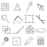 Computer graphics black outline icon set eps10 Stock Image