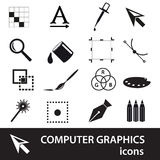 Computer graphics black symbols icon set Stock Image