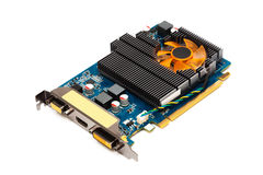 Computer graphics card. On a white background Royalty Free Stock Photos
