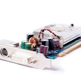 Computer graphics card on a white background.  Royalty Free Stock Photography