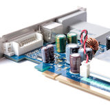 Computer graphics card on a white background.  Stock Image