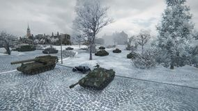 Computer graphics game World of Tanks. Realistic battles on the legendary tanks, more than 500 vehicles are ready for battle, 150 million players around the stock photos