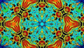 Computer graphics. Illustration of an abstract background, a psychedelic symmetrical decorative pattern. Traditional oriental mosa stock illustration