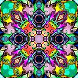 Computer graphics. Illustration of an abstract floral background, psychedelic symmetrical ornament. Traditional oriental mosaic fo vector illustration