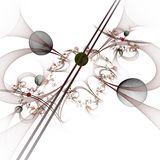Computer graphics: Marbles on lines and curves with flowers Royalty Free Stock Images