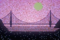Computer graphics rendition of the Bay Bridge, San Francisco, California Stock Photography
