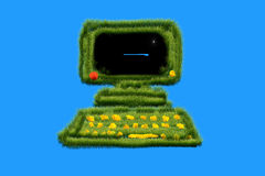 Computer from the grass Royalty Free Stock Photography
